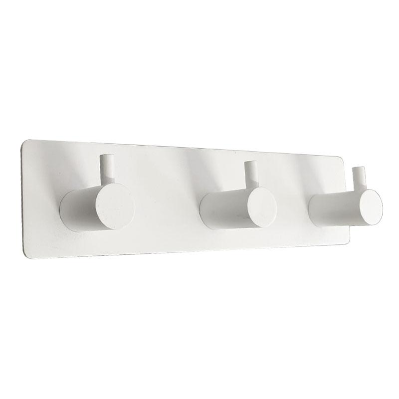 מתלה מגבות אמבטיה 3 ווים בהדבקה 3M לבן