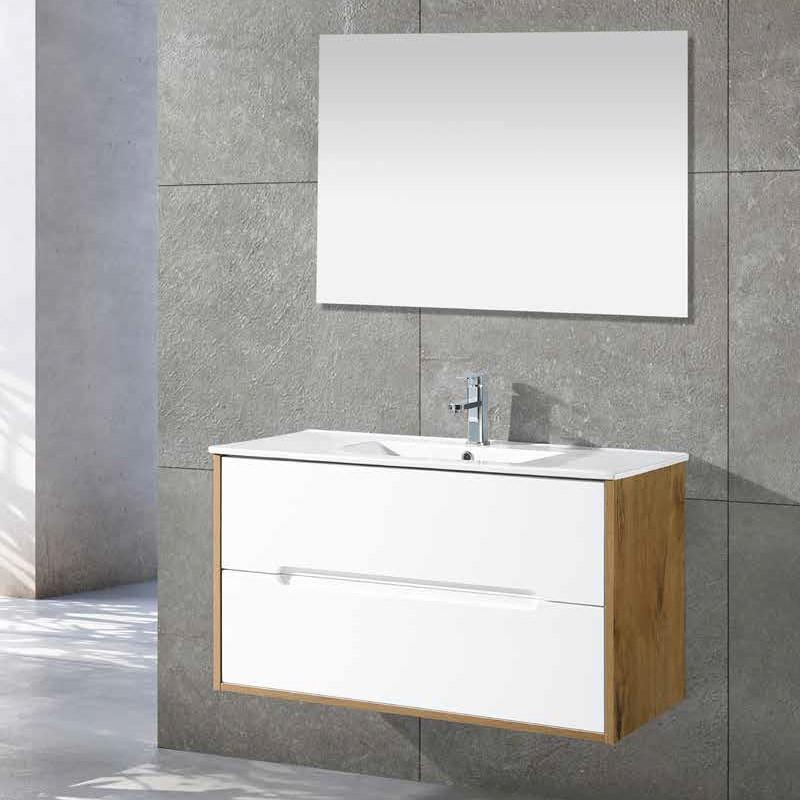 ארון אמבטיה תלוי פורניר וצבע אפוקסי לבן דגם YORK