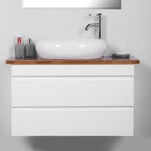 """ארון אמבטיה תלוי אפוקסי לבן מבריק קפרי 100 ס""""מ"""