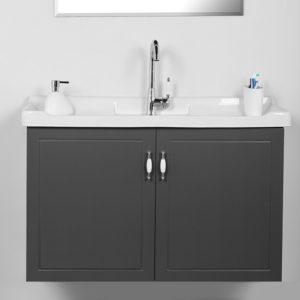 """ארון אמבטיה תלוי אפוקסי 100 ס""""מ אפור רנסנס"""