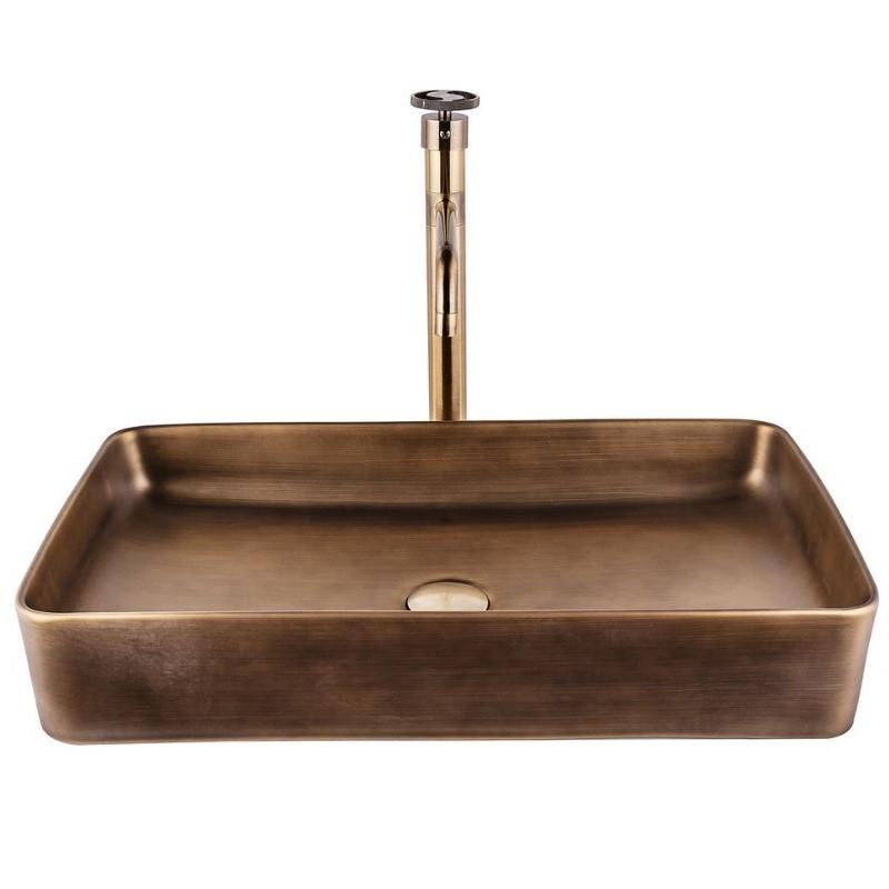 כיור אמבטיה מלבני 60/35 ברונזה צהובה