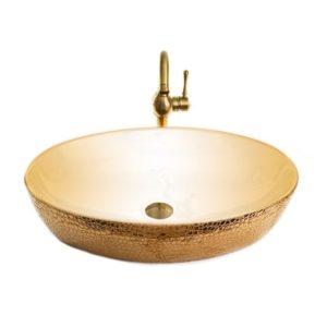 כיור אמבטיה מונח אובלי 62/42 רוז גולד