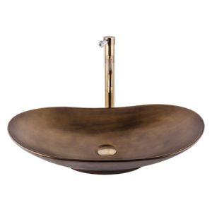 כיור אמבטיה מונח אובלי 64/37 ברונזה צהובה