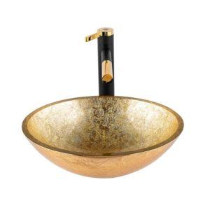 """כיור אמבטיה מונח אובלי זכוכית זהב מקומט 41/33 ס""""מ"""