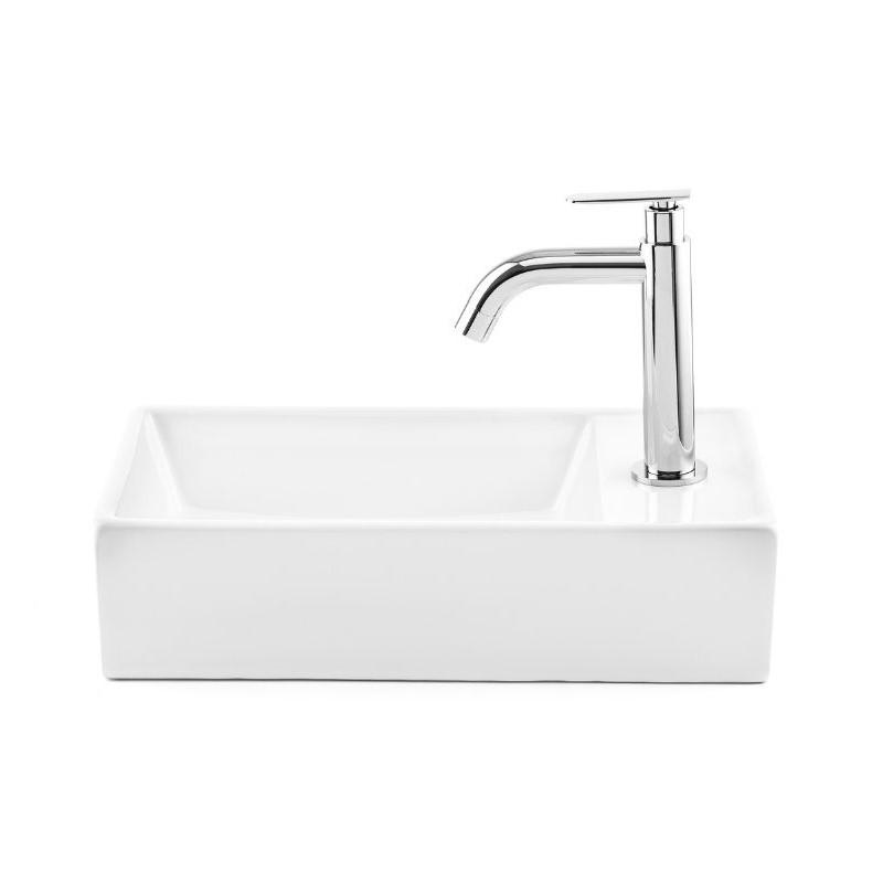 כיור אמבטיה חרס מלבני מונח/תלוי 41/22 לבן