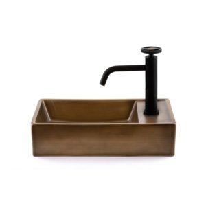 כיור אמבטיה מלבני 41/22.5 ברונזה צהובה