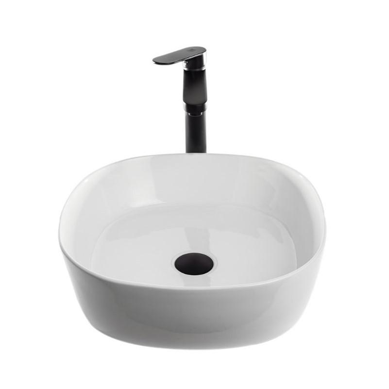 """כיור אמבטיה מונח מרובע שפה דקה 44 ס""""מ לבן"""