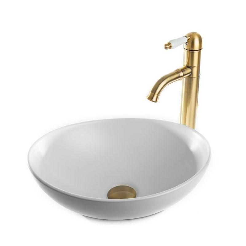 כיור אמבטיה מונח אובלי 41/33 לבן מט