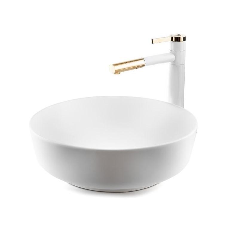 כיור אמבטיה מונח עגול שפה דקה 42 לבן מט