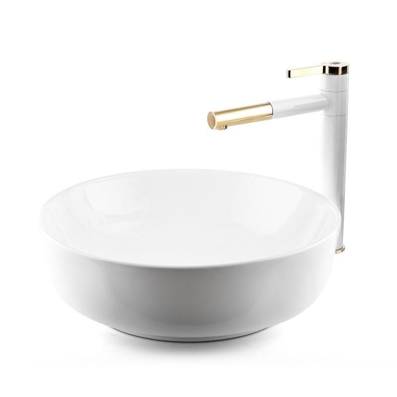"""כיור אמבטיה מונח עגול שפה דקה 42 ס""""מ לבן"""