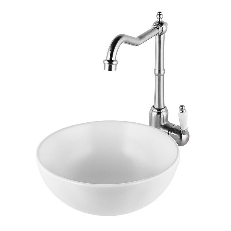 """כיור אמבטיה מונח עגול 28 ס""""מ לבן מט"""