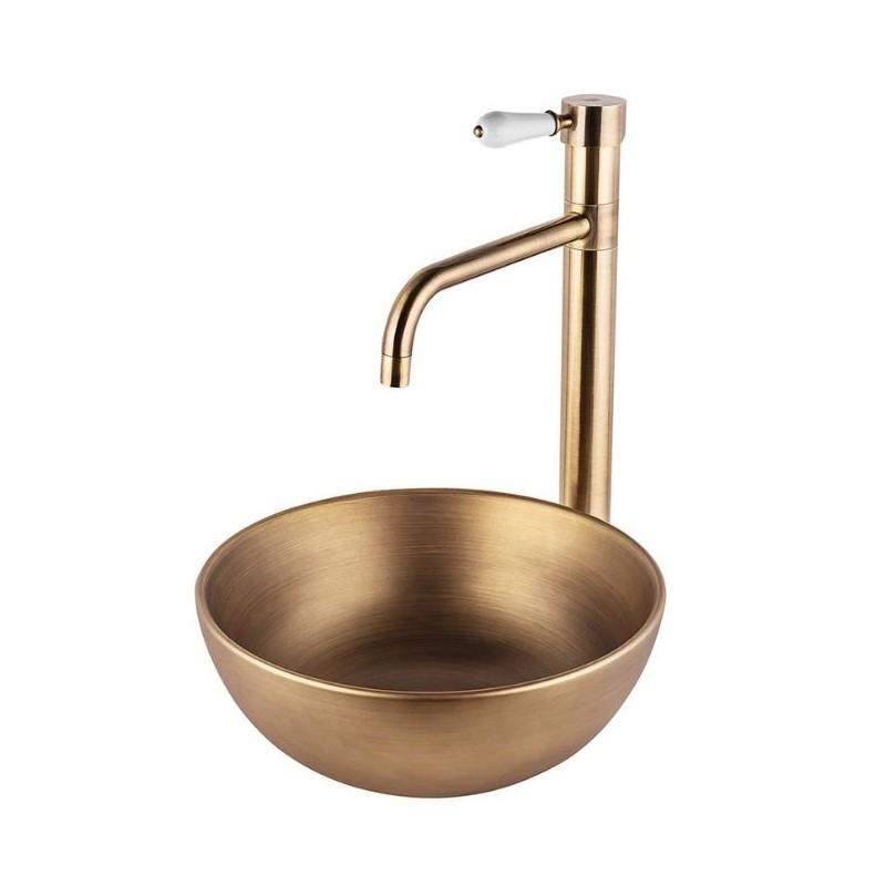 """כיור אמבטיה מונח עגול 28 ס""""מ ברונזה צהובה"""