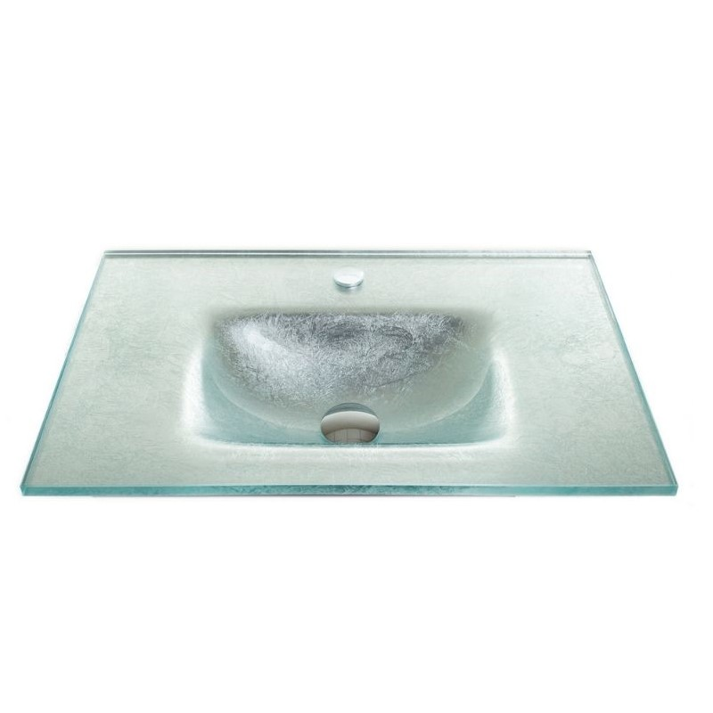 """כיור זכוכית אינטגרלי 60/40 ס""""מ כסוף מקומט"""