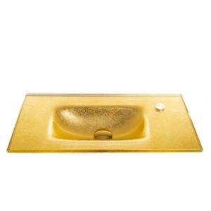 """כיור זכוכית אינטגרלי 60/30 ס""""מ זהב מקומט"""