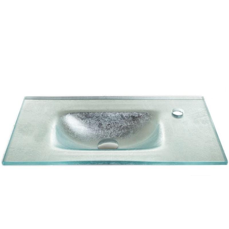 """כיור זכוכית אינטגרלי 60/30 ס""""מ כסף מקומט"""