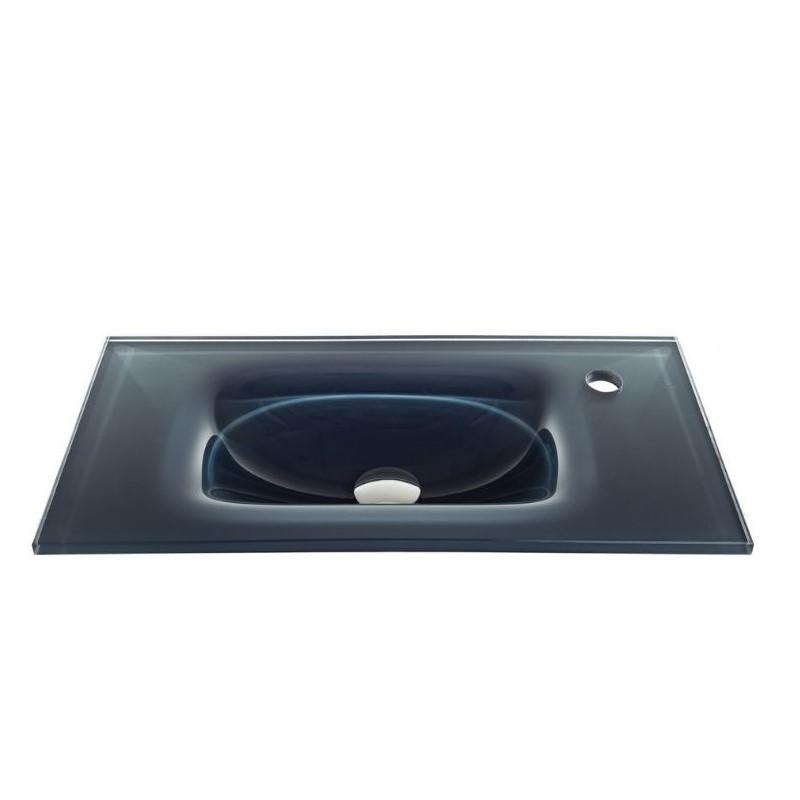 """כיור זכוכית אינטגרלי 60/30 ס""""מ אפור כהה"""