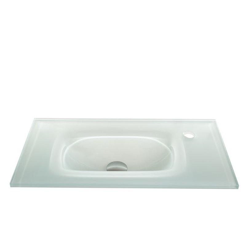 """כיור זכוכית אינטגרלי 60/30 ס""""מ לבן"""