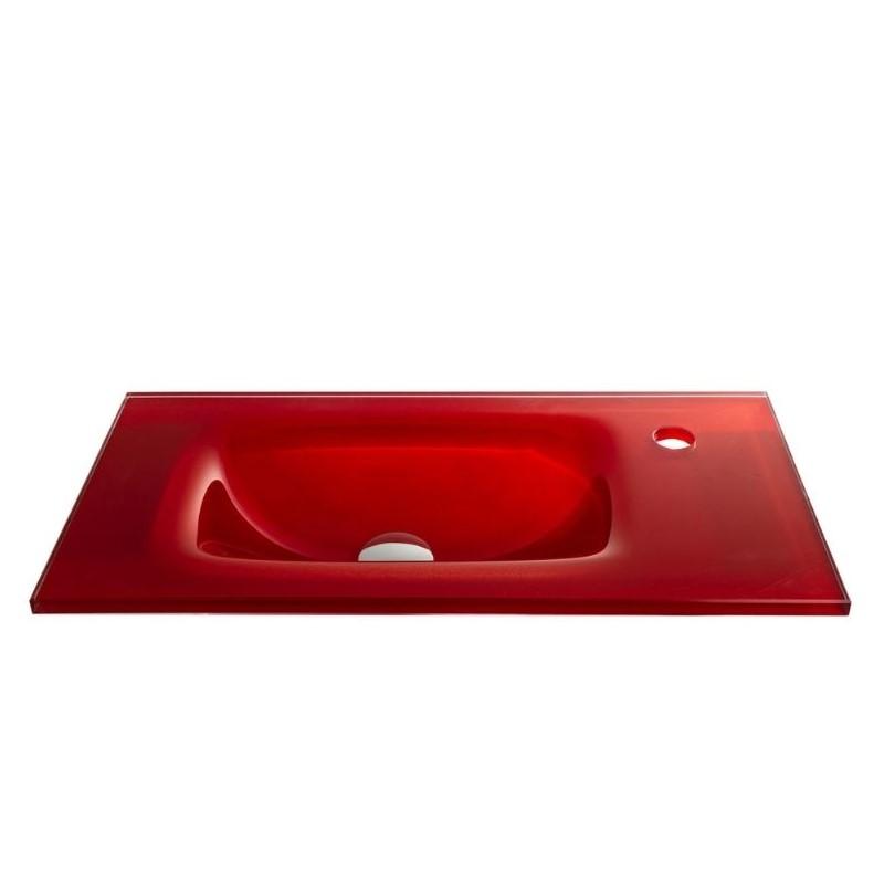 """כיור זכוכית אינטגרלי 60/30 ס""""מ אדום"""