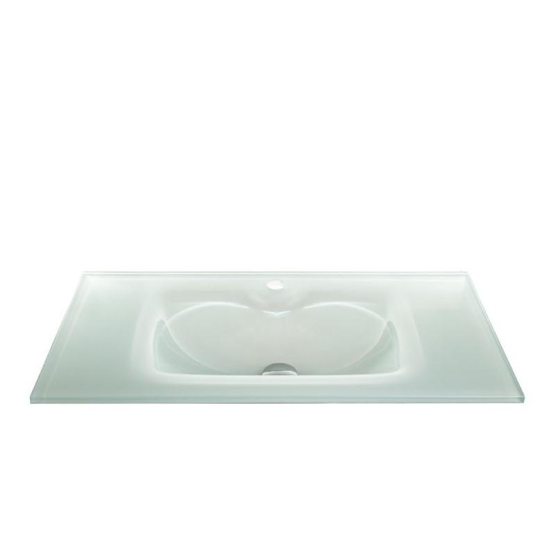 """כיור זכוכית אינטגרלי 80/40 ס""""מ לבן"""