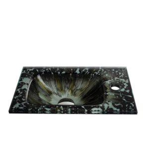 """כיור זכוכית יהלומים אינטגרלי 43/25 ס""""מ"""