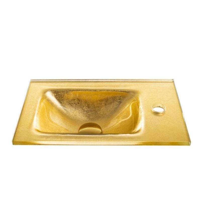 """כיור זכוכית אינטגרלי 43/25 ס""""מ זהב מקומט"""