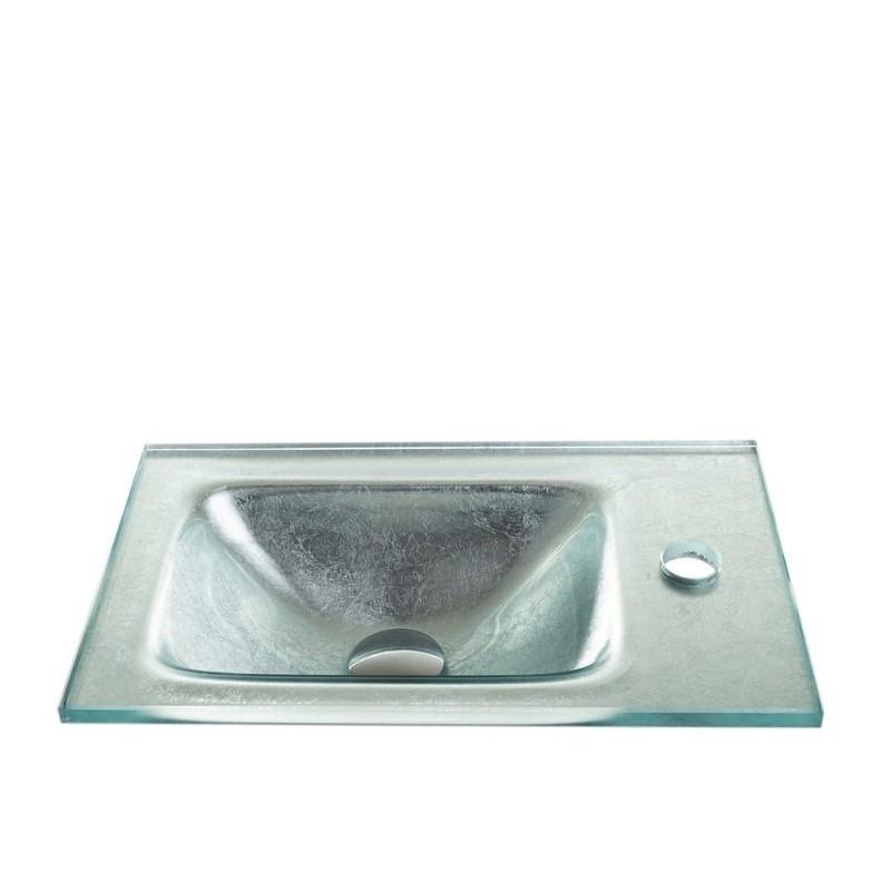 """כיור זכוכית אינטגרלי 43/25 ס""""מ כסף מקומט"""