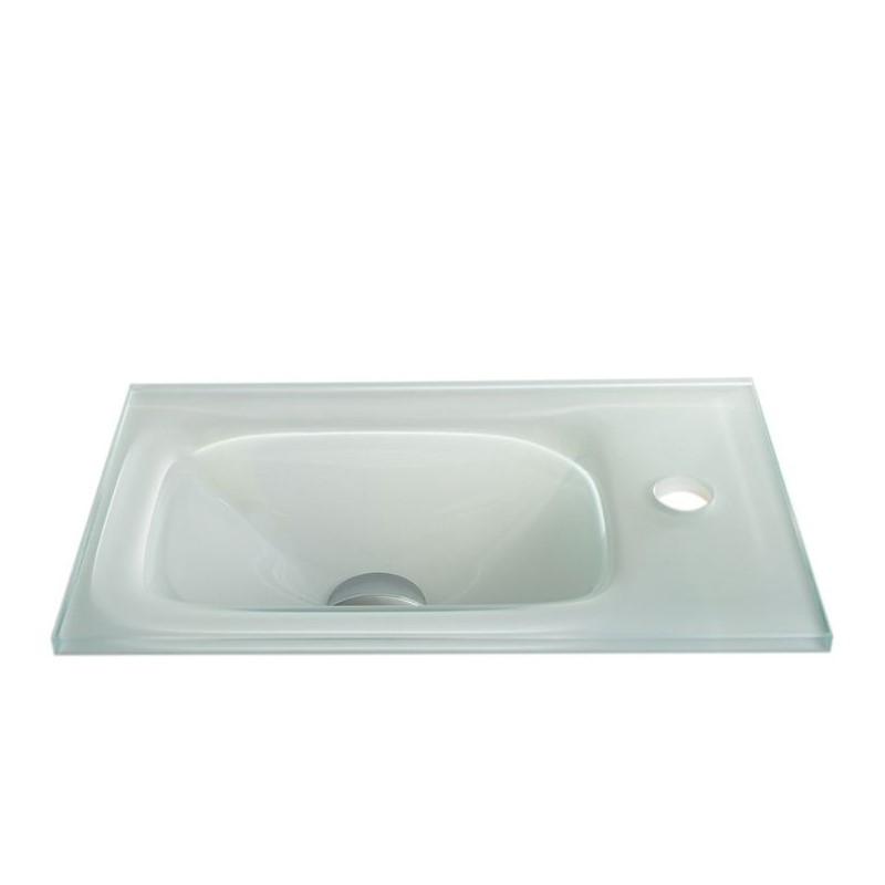 """כיור זכוכית אינטגרלי 43/25 ס""""מ לבן"""