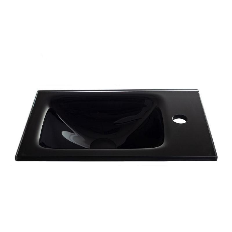 """כיור זכוכית אינטגרלי 43/25 ס""""מ שחור"""