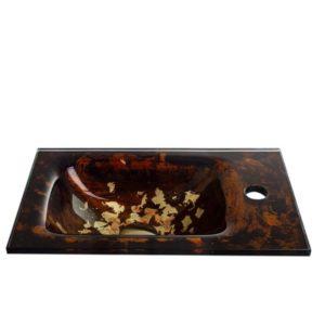 """כיור זכוכית אינטגרלי 43/25 ס""""מ חום"""