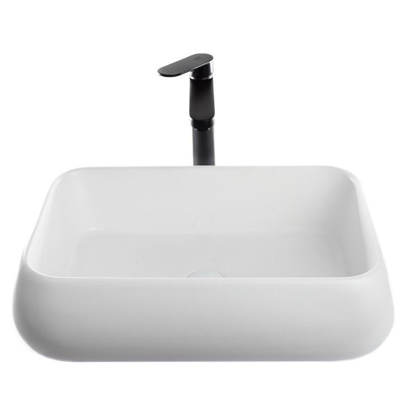 כיור אמבטיה מונח מלבני מעוגל 62/42 לבן מט