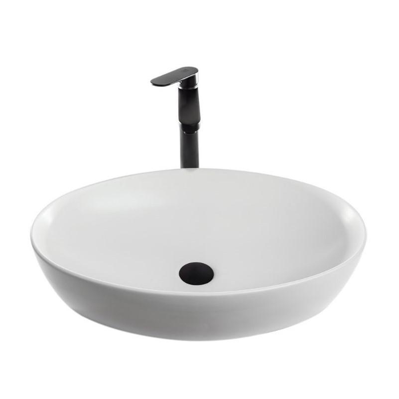 כיור אמבטיה מונח אובלי שפה דקה 62/41 לבן מט