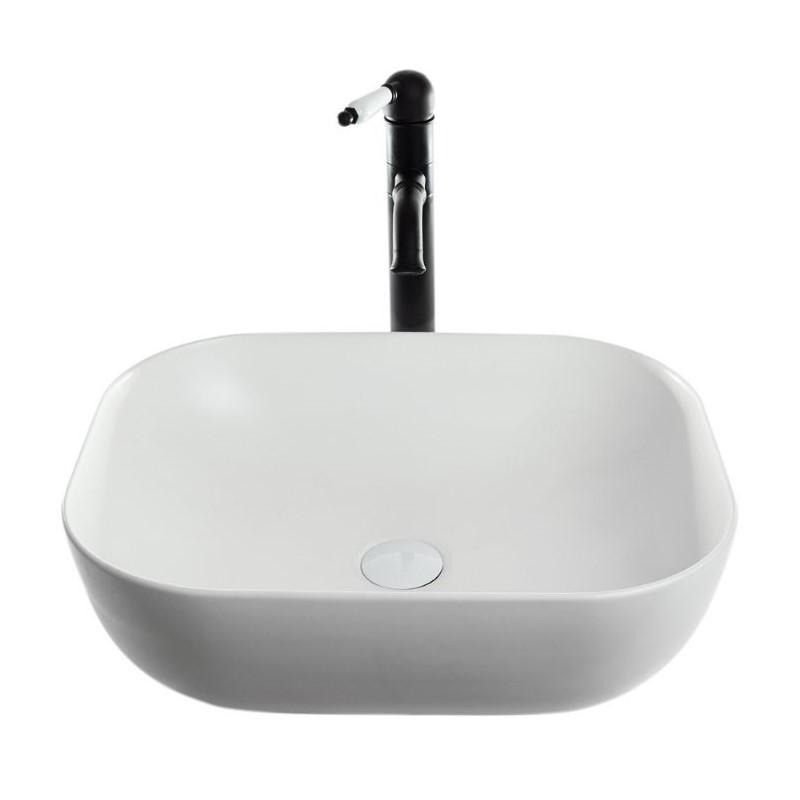 כיור אמבטיה מונח מלבן מעוגל שפה דקה 50/40 לבן מט
