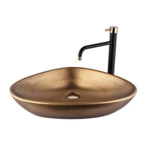 כיור אמבטיה מונח 59/39 ברונזה צהובה