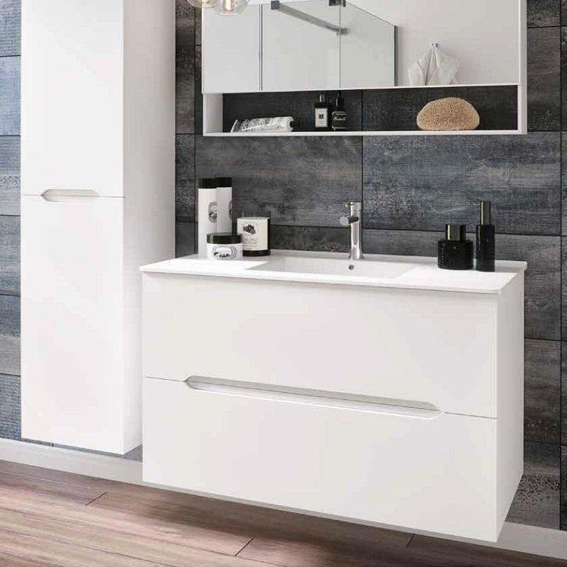ארון אמבטיה תלוי אפוקסי 2 מגירות דגם LINE לבן מט