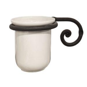 כוס למברשת שיניים תלויה עבודת יד נפחות שבלול שחור