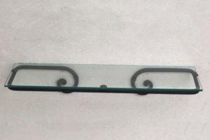 מדף זכוכית לאמבטיה 50 ס״מ נפחות שבלול שחור חולי