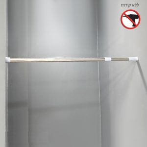 מוט וילון למקלחת מתכוונן ב 3 גדלים ניקל