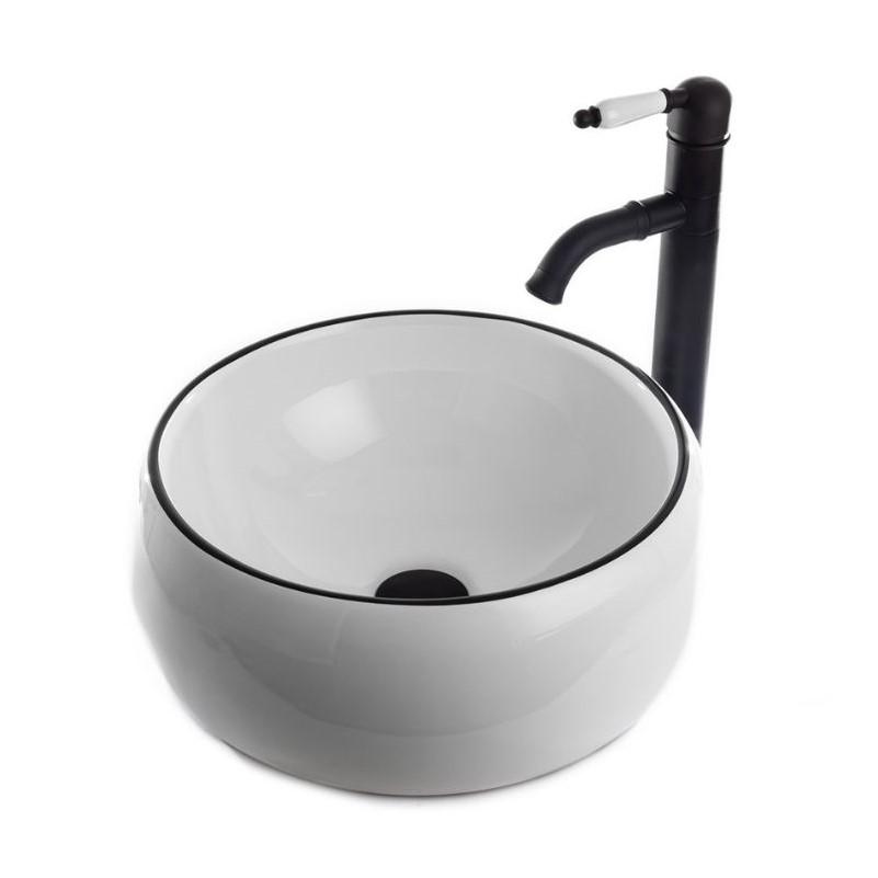 """כיור אמבטיה מונח 40 ס""""מ לבן פס שחור"""