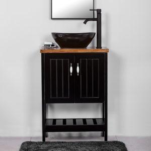 """ארון אמבטיה עומד 60/30 ס""""מ שחור מט דגם קומו"""