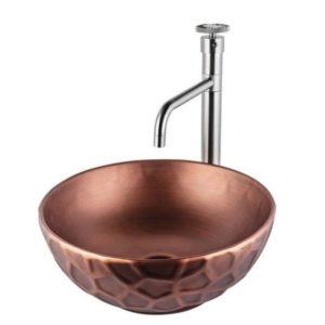 כיור אמבטיה מונח עגול 38/38 נחושת אדומה