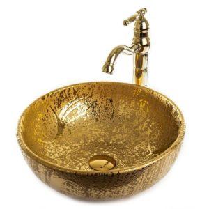 """כיור אמבטיה חרס מונח עגול 41 ס""""מ זהב מבריק ומט"""