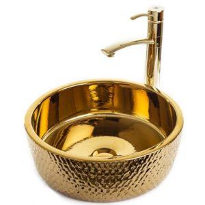 """כיור אמבטיה מונח עגול 41 ס""""מ זהב מבריק וזהב מט"""
