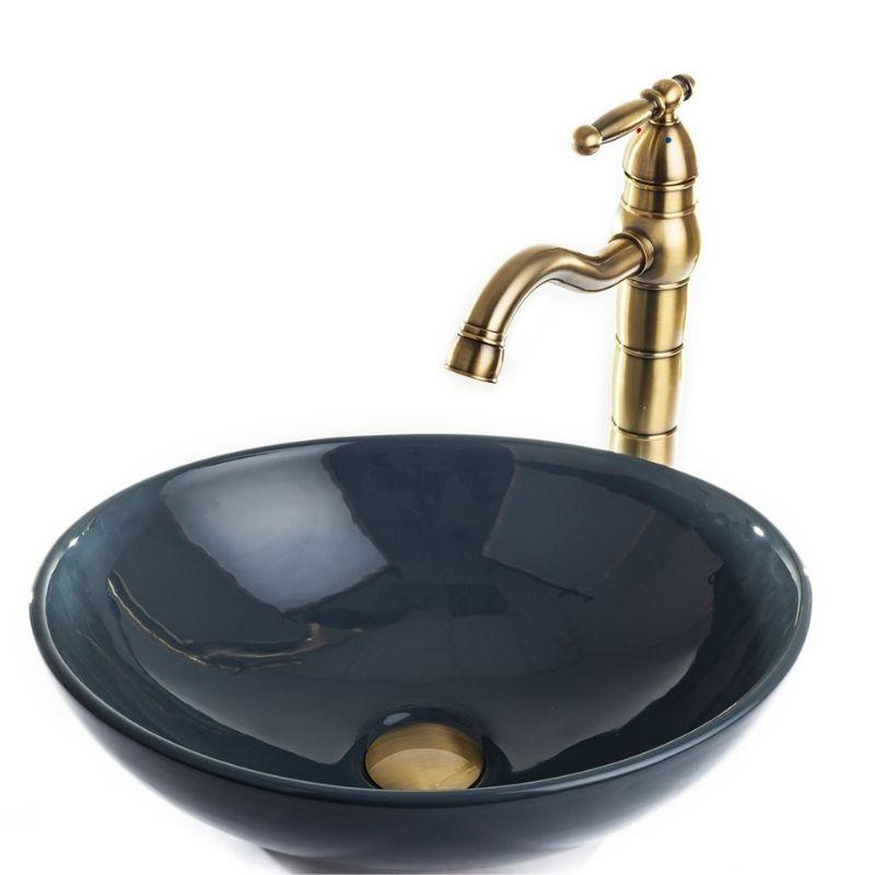 """כיור אמבטיה מונח אובלי 41/33 ס""""מ אפור"""