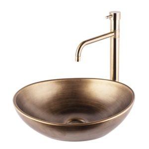 """כיור אמבטיה מונח אובלי 41/33 ס""""מ ברונזה צהובה"""