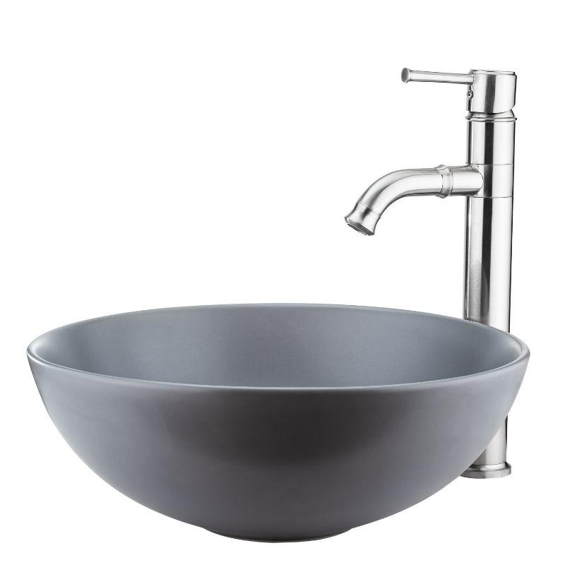 כיור אמבטיה מונח עגול 40 אפור מט
