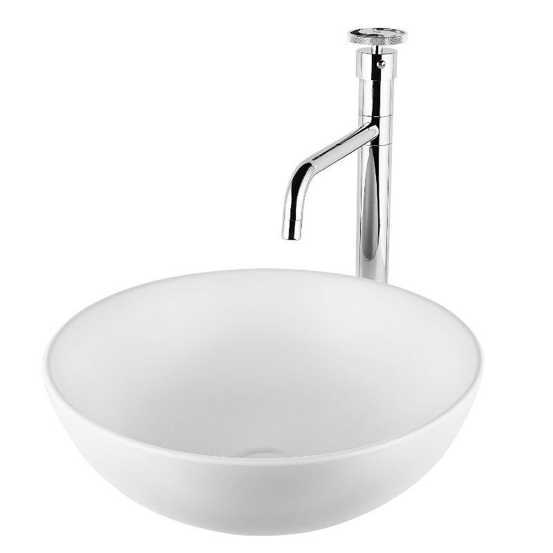 """כיור אמבטיה מונח עגול 40 ס""""מ לבן מט"""
