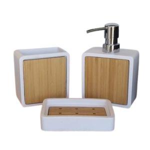 סט אביזרי אמבטיה אבן לבן בשילוב עץ