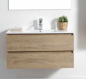 """ארון אמבטיה 60 ס""""מ תלוי פורמיקה עץ אלון טבעי URBAN אספקה מיידית"""