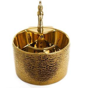 """כיור חרס מונח עגול 41 ס""""מ זהב"""