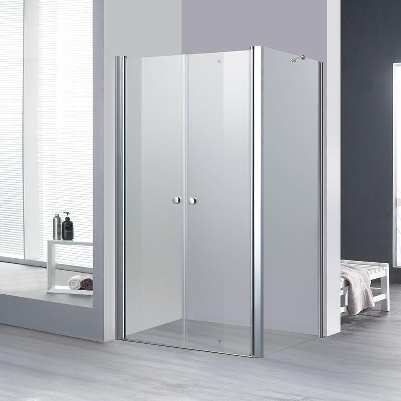 מקלחון פינתי דופן קבוע בשילוב 2 דלתות נפתחות